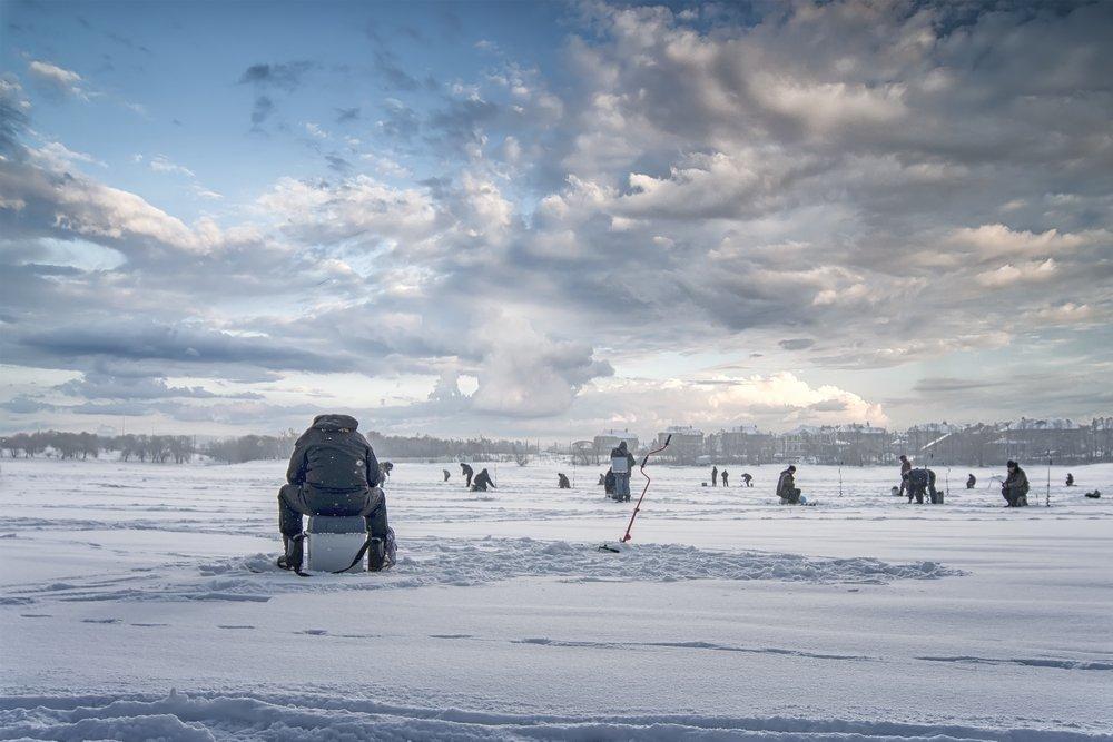 winter sishing on ice, natural background