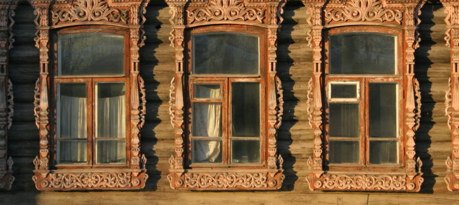 Carved window artwork in Russia